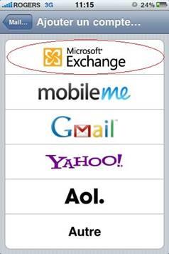 étape 4, Sélectionnez l'option Microsoft Exchange.