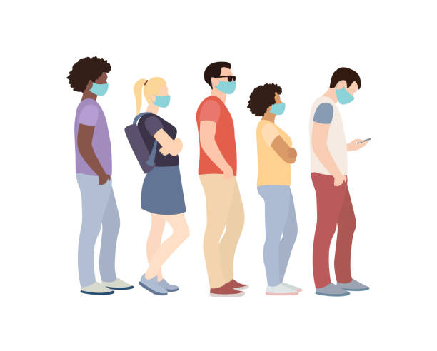 five people in masks in a queue