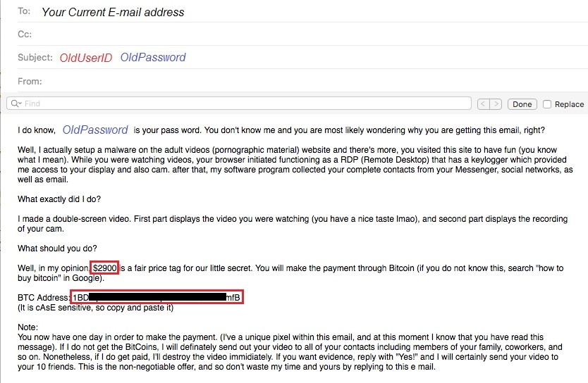 Example of sextortion email