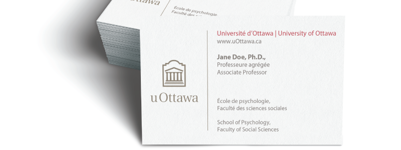 University of Ottawa branded business cards