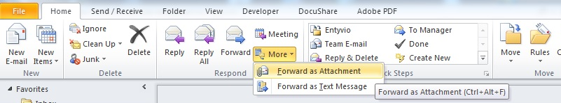 Outlook 2010 - Windows - Forward an email as an attachment
