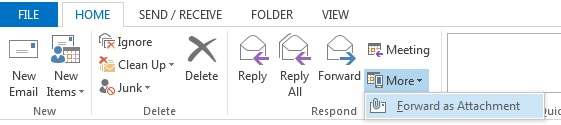 Outlook 2013- Windows - Forward an email as an attachment