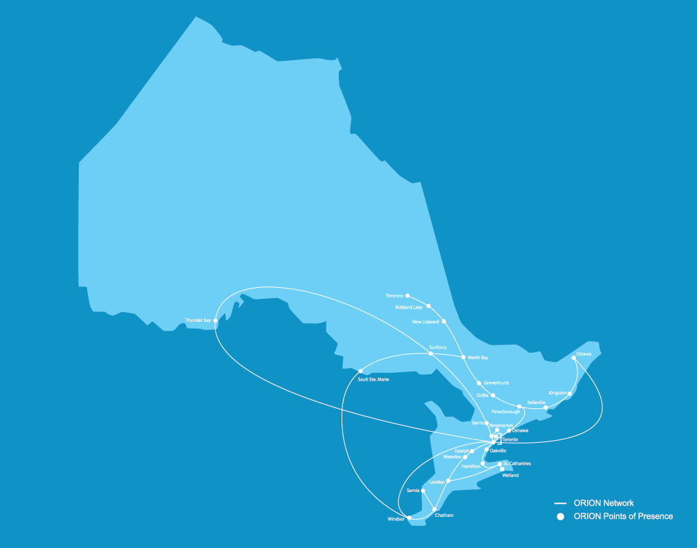 Map of Ontario showing ORION's network Points of Presence within and connections between the institutions on our network.