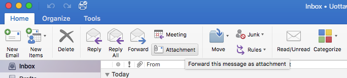 Outlook 2016 - Mac - Forward an email as an attachment