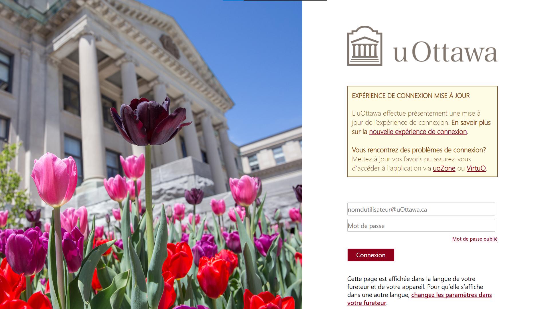 écran de Connexion au site web d'uOttawa avec un champ pour le nom d'utilisateur, un champ mote de passe, un bouton « Connexion »