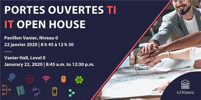 Purple banner, with text, 'Portes ouvertes TI | IT Open House' with colourful IT icons, and a group piling their hands in the middle of a working area