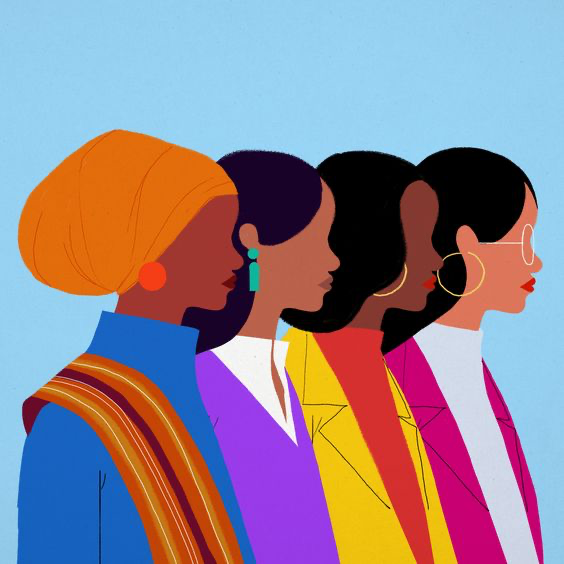 profile graphic of four cartoon women