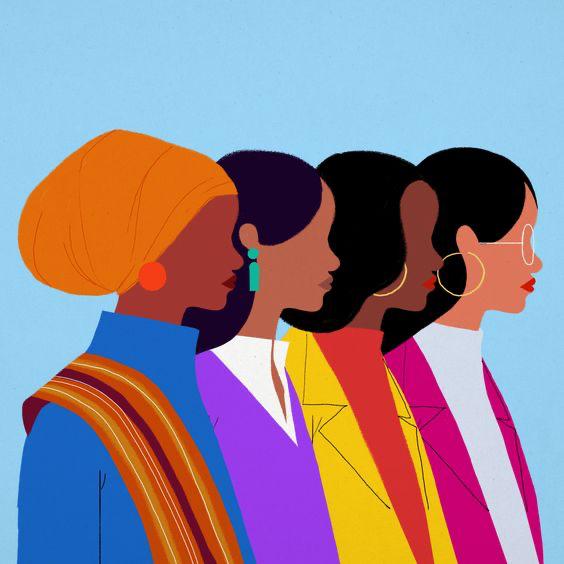 profile graphic of four cartoon women