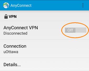 Déconnexion du RPV de l'Université d'Ottawa, étape 2, le bouton de contrôle est maintenant en position fermer