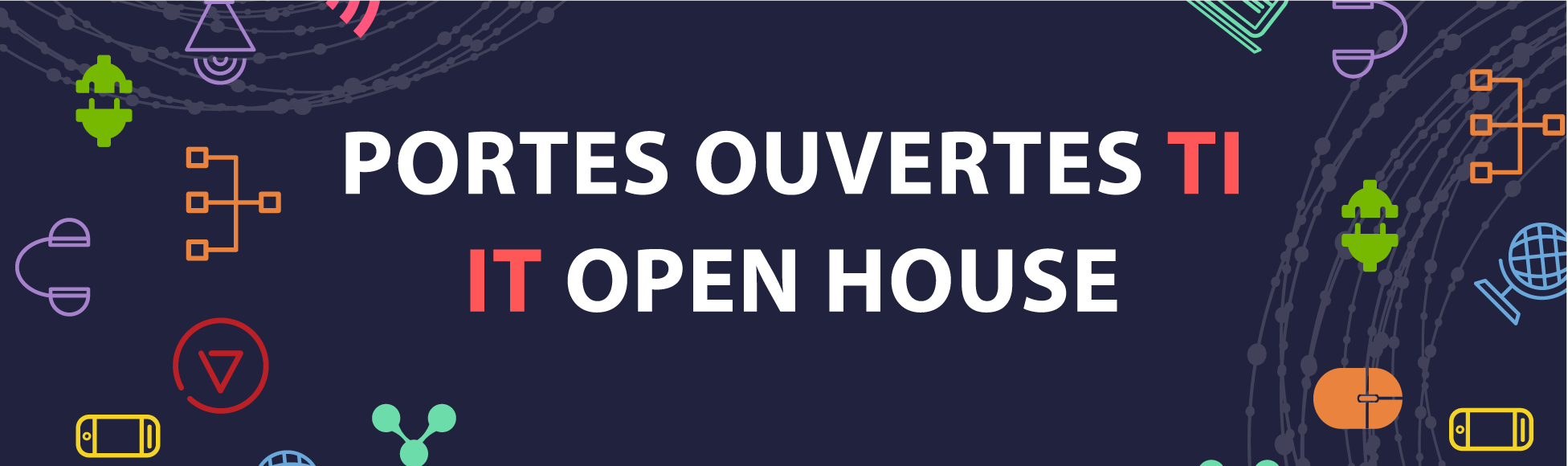 """Purple banner with colourful IT icons, text reads """"Portes ouvertes TI 