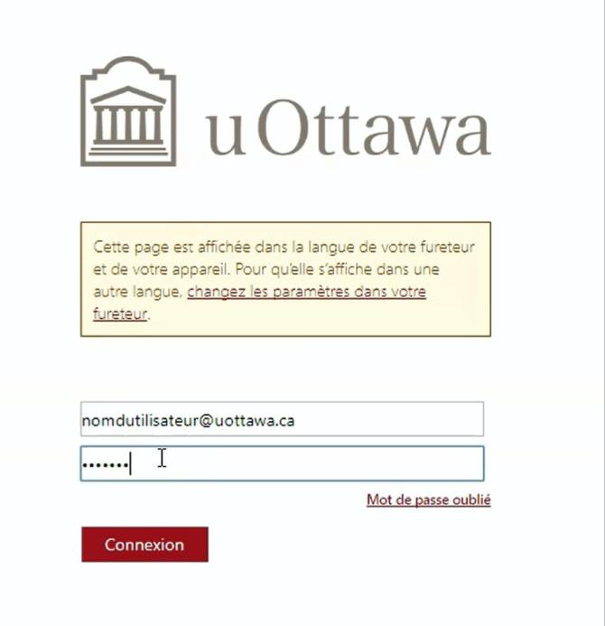 écran pour l'authentification sur le système de l'université, boîte pour entrez identifiants et mot de passe