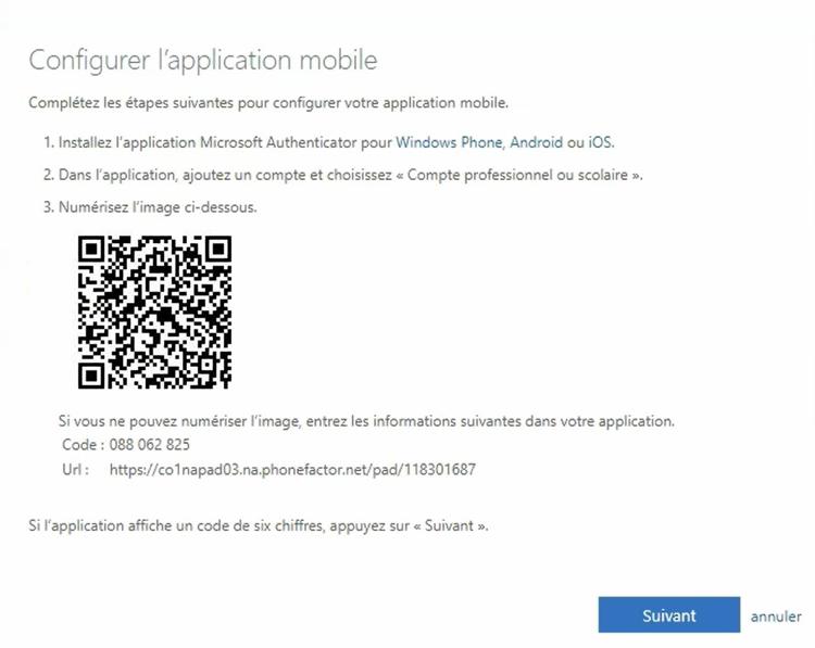 écran Configurer l'application mobile apparaîtra avec un code QR