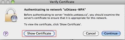 Accéder au réseau sans fil uOttawa-WPA avec Apple Mac OS X 10.6 et versions ultérieures capture d'écran - étape 8