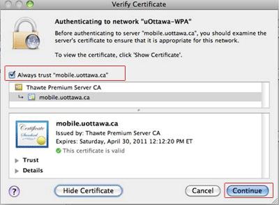 Accéder au réseau sans fil uOttawa-WPA avec Apple Mac OS X 10.6 et versions ultérieures capture d'écran - étape 9