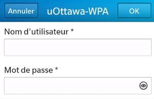 Accédez au réseau sans fil uOttawa-WPA avec votre appareil BlackBerry 10 - étape 4