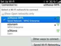 Access uOttawa-WPA wireless with Blackberry OS 6&7 - step 10