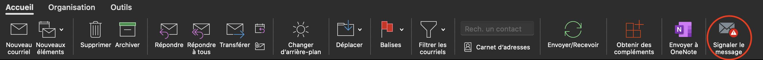 Menu d'accueil aven l'option signaler le message encercler en rouge