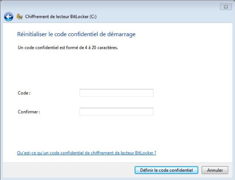 écran Réinitialiser le code confidentiel de démarrage