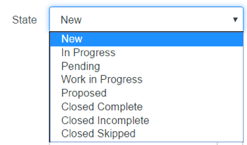 When opening a new change request, the default state is now New.