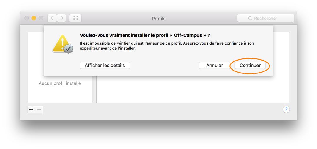 Téléchargement et installation d'un profil RPV, étape 2, cliquer sur le bouton continuer