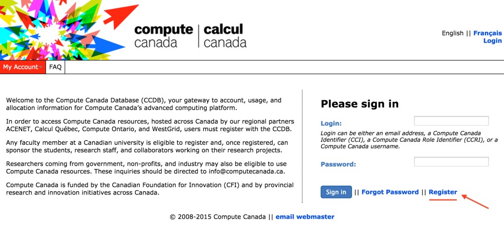 This image shows Compute Canada login screen