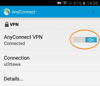 Se connecter au RPV de l'Université d'Ottawa, étape 5, le bouton de contrôle