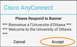 Connecting to uOttawa VPN, step 5, tap accept