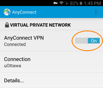 Connecting to uOttawa VPN, step 5, VPN connection active