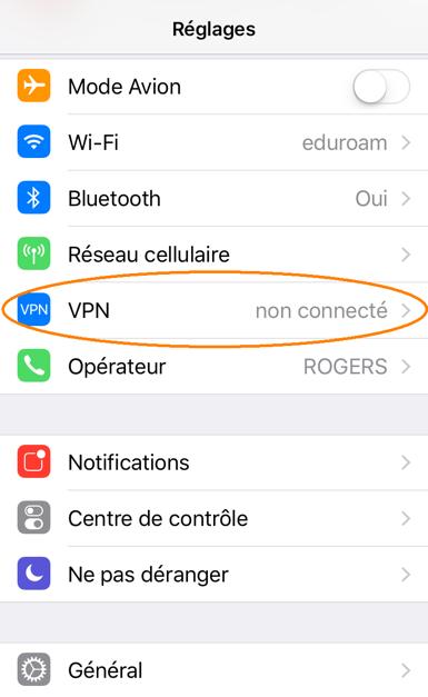 Connexion au RPV avec iPhone/iPad, étape 2, Appuyez sur VPN