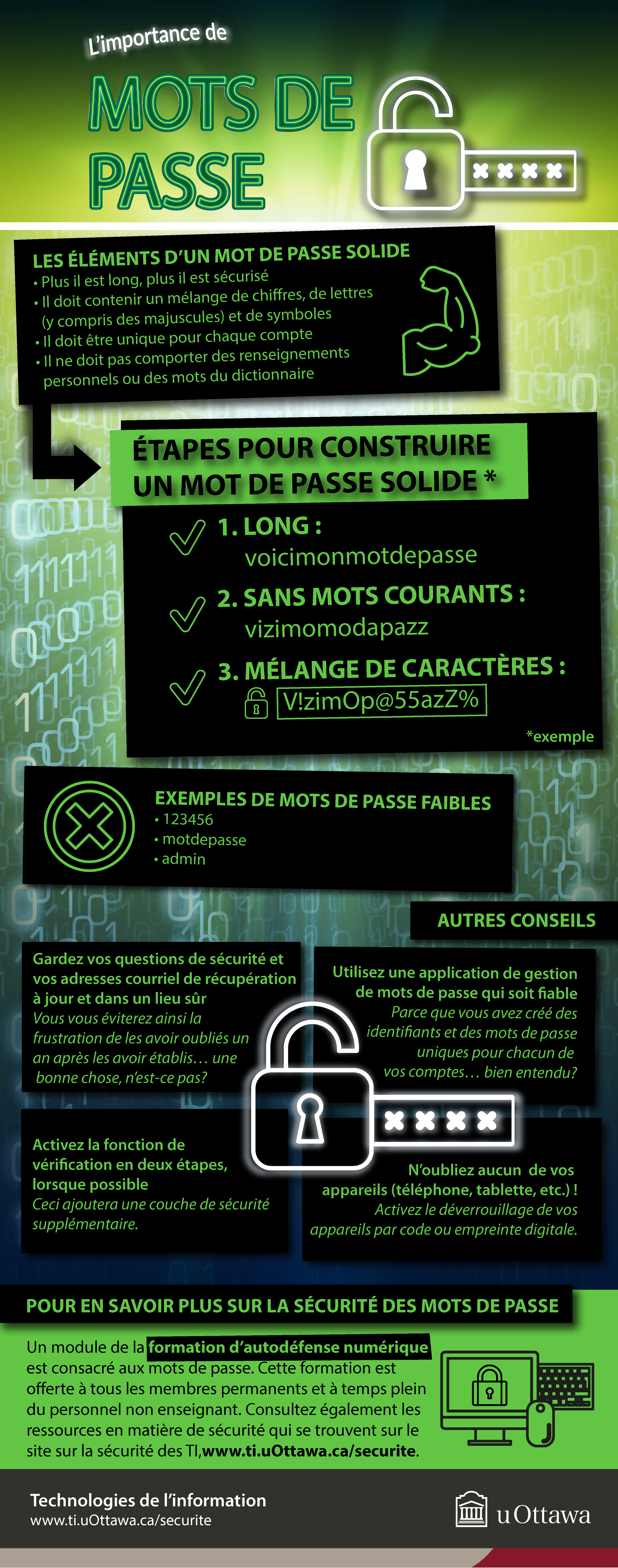L'importance de mots de passe, infographique