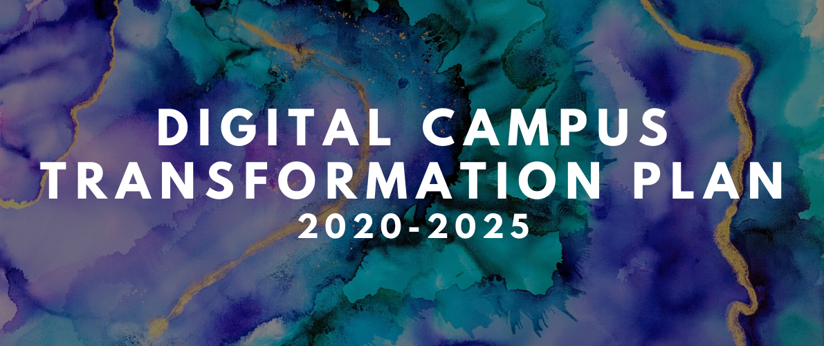"abstract watercolour background with text ""digital campus transformation plan 2020-2025'"