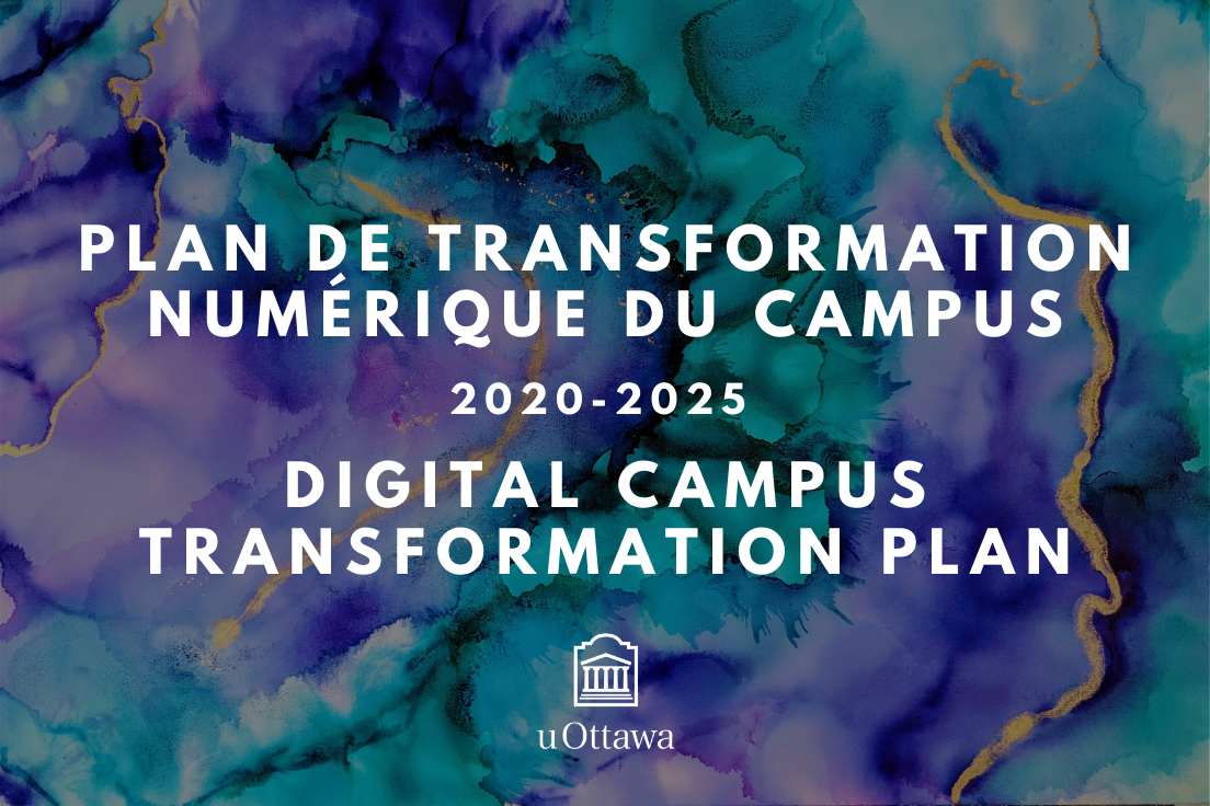 watercolour image with text Plan de transformation numérique du campus 2020-2025 Digital campus transformation plan