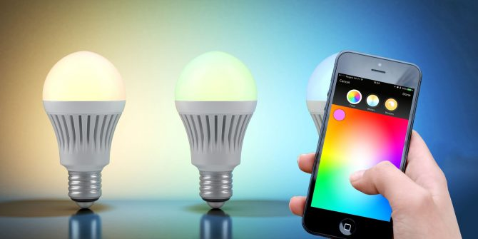 Using a phone to automate changing light colors.
