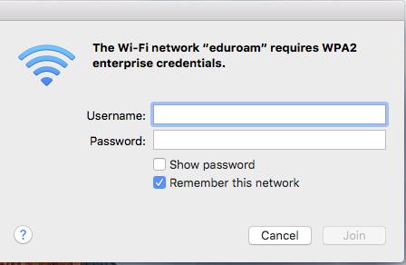 Configuring eduroam for Mac, step 3, enter credentials