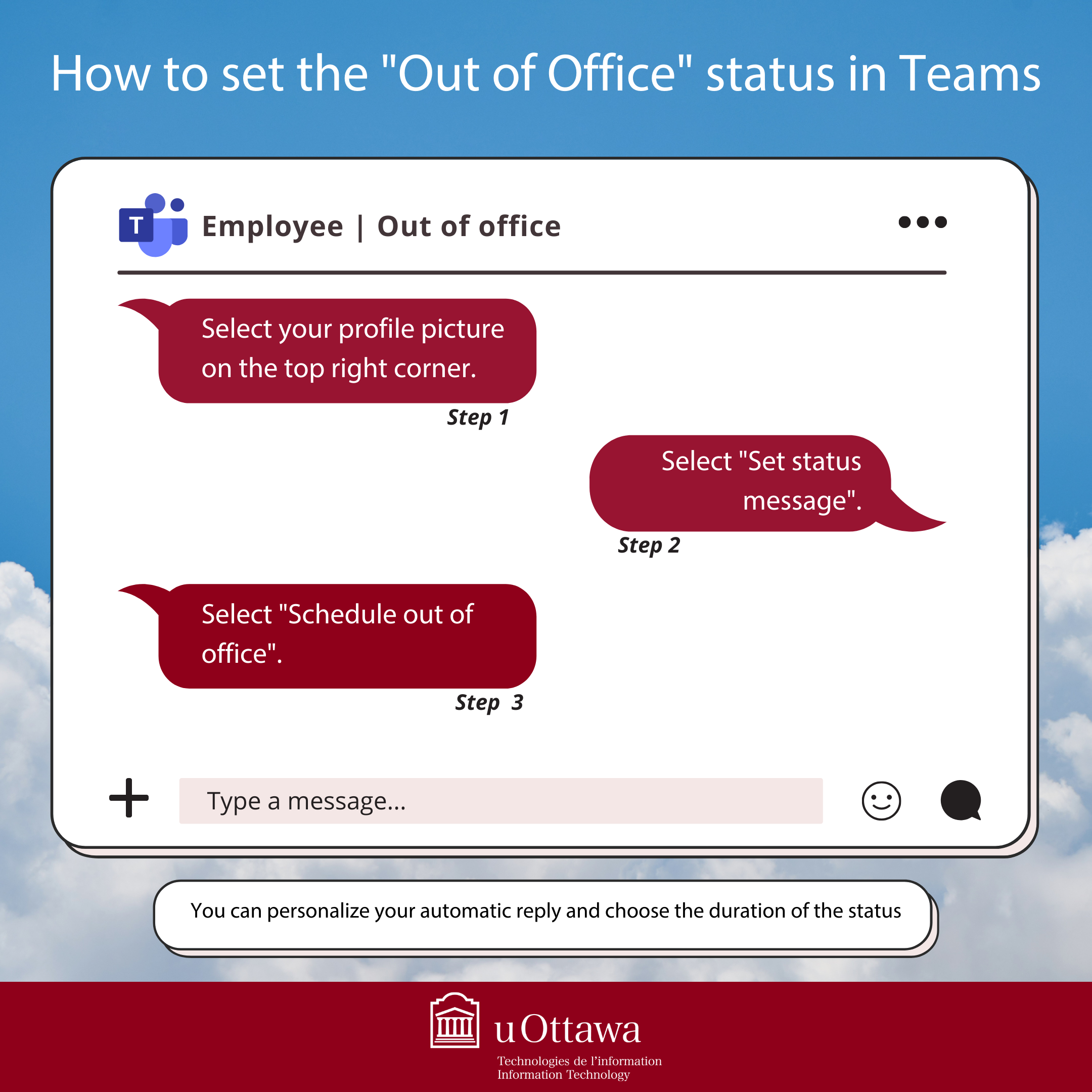 Photo on How to set out of office from Teams procedure