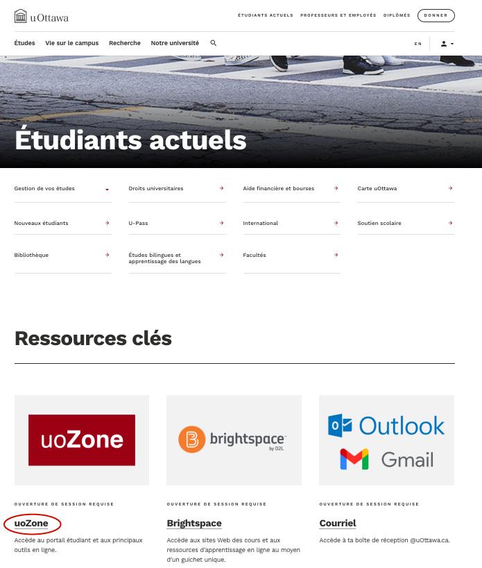 Page web pour les étudiants actuels d'uOttawa avec le lien uoZone encercler