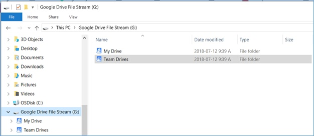 This image depicts the Desktop Google Drive File Stream home page.
