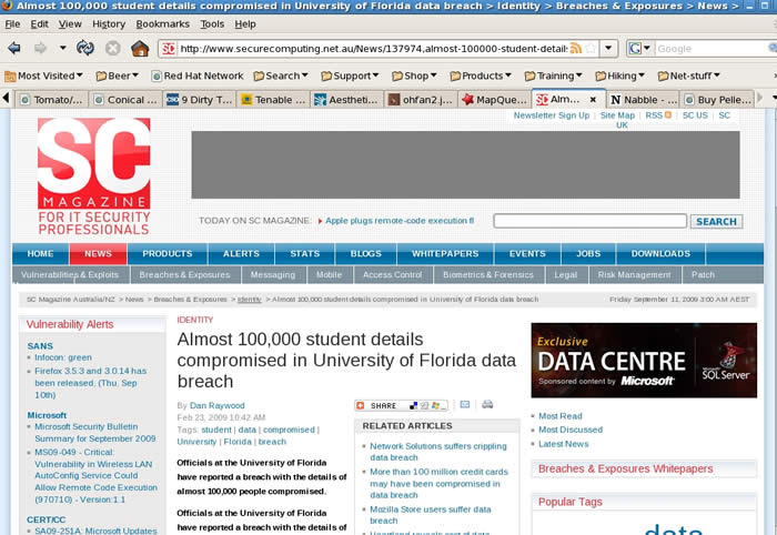 La sécurité des données de près de cent mille dossiers scolaires à l'Université de Floride aurait été atteinte