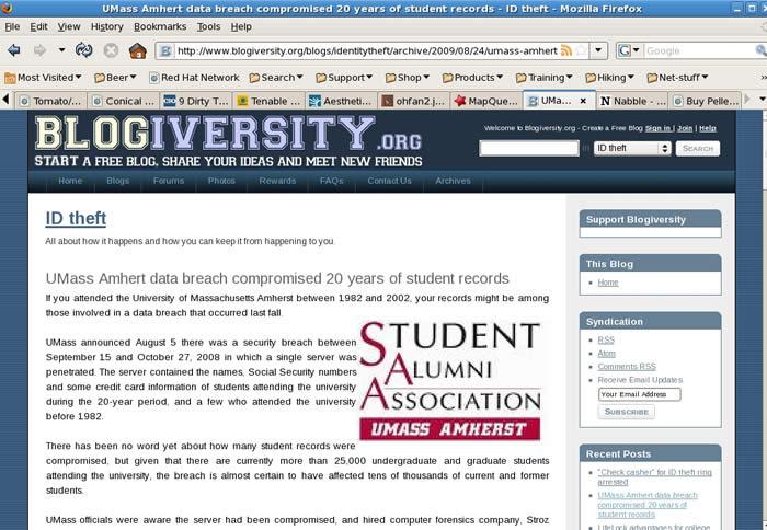 Une atteinte à des données personnelles à l'université du Massachusetts à Amherst aurait compromis une vingtaine d'années de dossiers scolaires