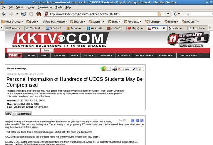 Les renseignements personnels de quelques centaines d'étudiants de l'université du Colorado à Colorado Springs auraient été compromis