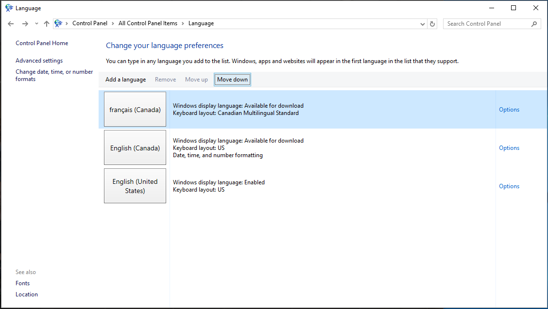 Changing language on Windows 10 | Information Technology