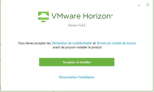 Instructions d'écran avec le contenu VMware Horizon version 5.4.2, vous devez accepter le contrat de confidentialité et les termes de la licence avant de pouvoir installer le produit, accepter et installer le bouton vert et personnaliser l'installation