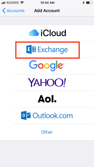 Exchange configuration on an iOS device, step 4, select Exchange