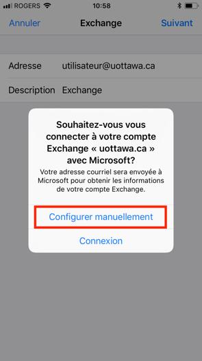 Configuration Microsoft Exchange, étape 6, cliquez sur configurer manuellement