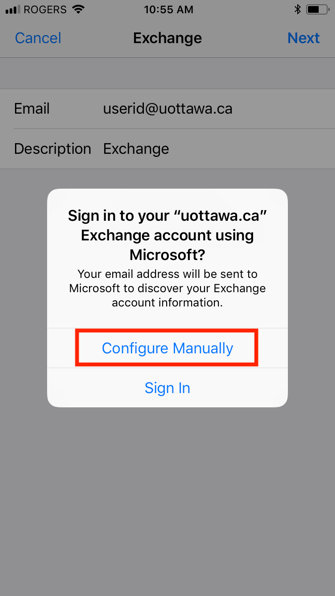 Exchange configuration on an iOS device, step 6, select Configure Manually