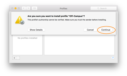 Downloading and Installing a VPN Profile, step 2, Click the continue button