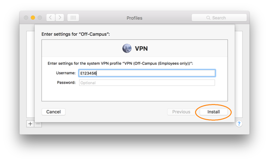 Downloading and Installing a VPN Profile, step 3, enter uoAccess username, click Continue