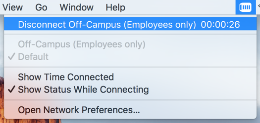 Disconnecting from uOttawa VPN, step 1, click the VPN icon