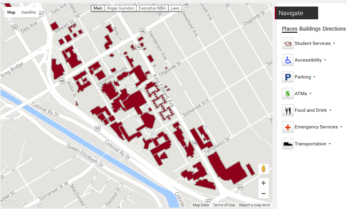 Uottawa Campus Map Drupal update on map changes | Information Technology | University