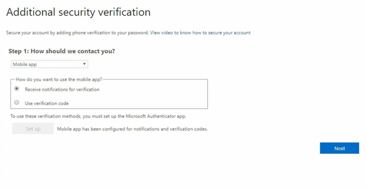 Addition security verification screen with drop-down menu and radio buttons